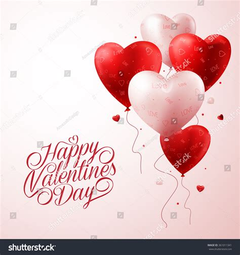 happy valentines day 3d 3d realistic balloons flying stock vector