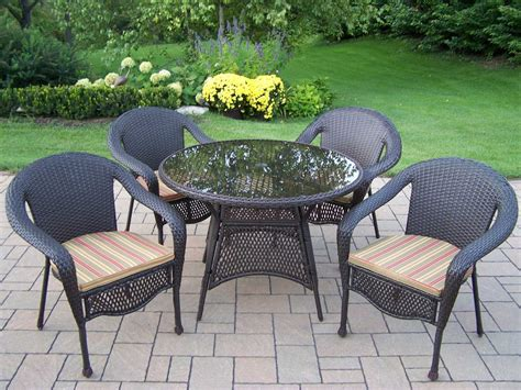 oakland living resin wicker casual patio dining set