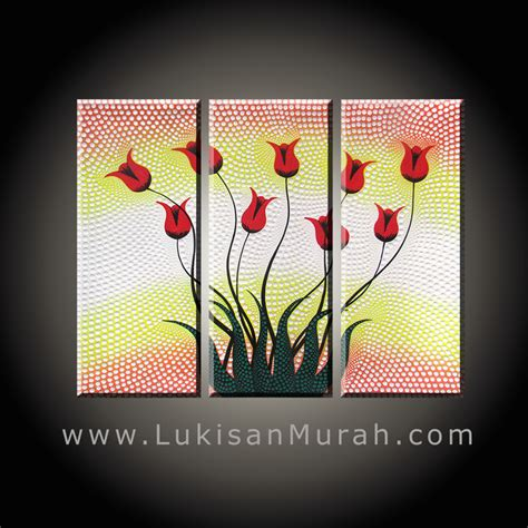 Lukisan Panel Dot Aborigin lm093 bunga tulip dot 3 panel lukisanmurah