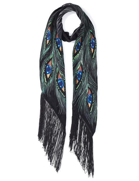 Ck Bandana 1403007 Motif Purple rockins purple silk peacock scarf lyst