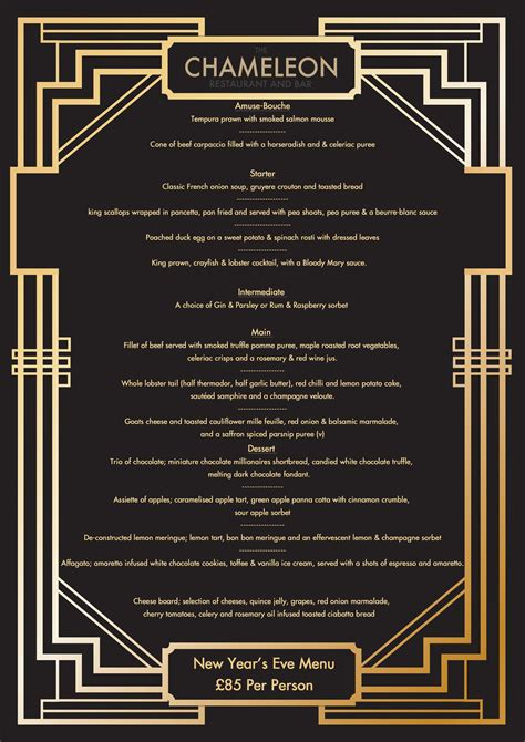 great gatsby dinner menu new years menu like gatsby the chameleon