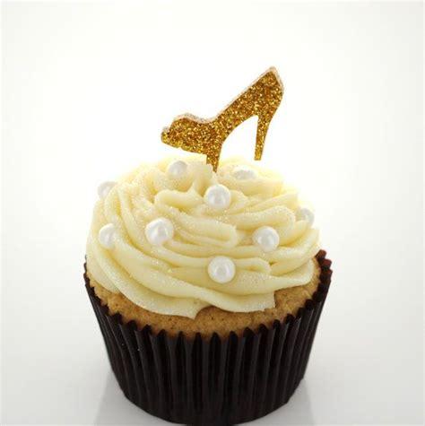 6 gold glitter acrylic cupcake toppers high heel shoe