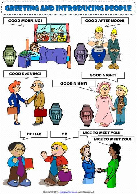 greeting and introducing poster worksheet