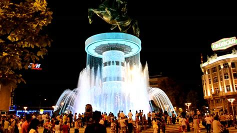 alexander  great fountain macedonia square skopje hd youtube