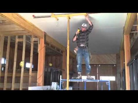 how to hang sheetrock on ceiling by yourself one drywall install