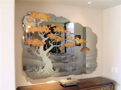 glass mirror wall decor etched decorative mirror wall mural cypress tree jpg from