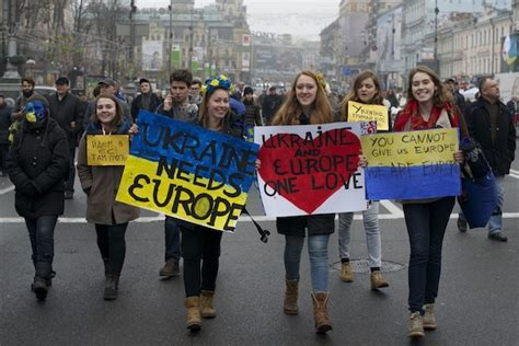 Platform Tents by Ukrainians Are Protesting In The Street For A European