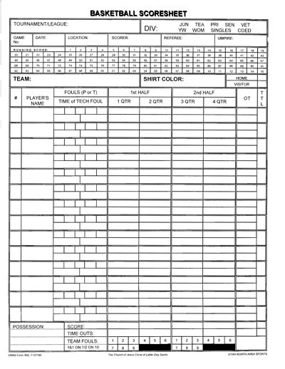 Basketball Score Sheet Template Excel by Score Template Gse Bookbinder Co