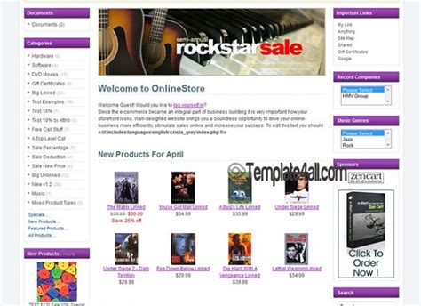 responsive purple zencart theme template