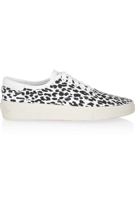 leopard print canvas sneakers laurent leopard print canvas sneakers in black lyst