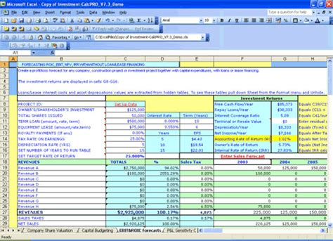 excel templates for accounting investment calc npv irr analysis millennium model advisor