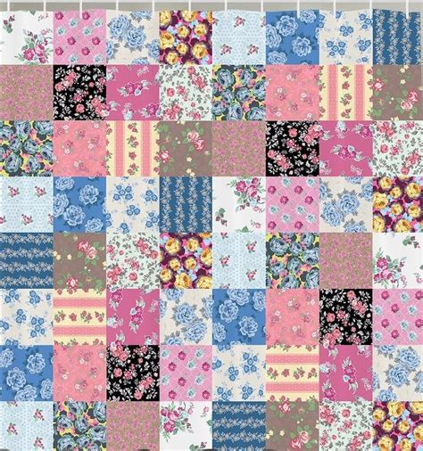 floral fabric shower curtain floral patchwork square tile fabric shower curtain vintage