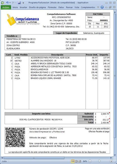 formato de factura de compra venta programa facturaci 243 n cbb compras ventas inventarios excel