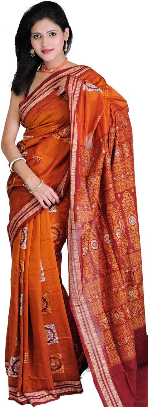 Sarung Tenun Motif Ahd Orange burnt orange and maroon bomkai sari from orissa with woven rudraksha border and floral motifs