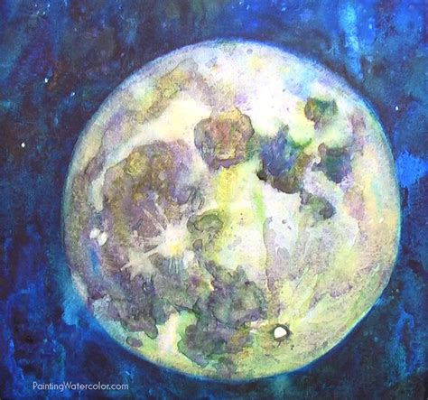Watercolor Moon Tutorial | how to paint a full moon