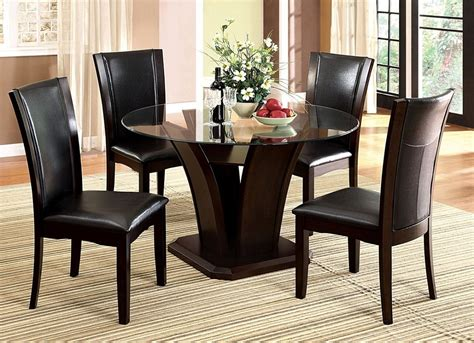 round wood dining room table sets manhattan round glass top dark cherry unique pedestal base