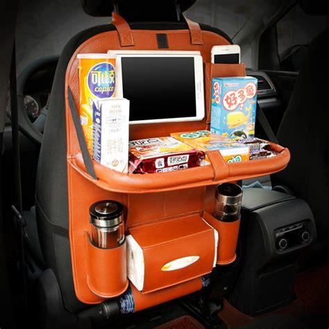 used portable 4 compartment leather car seat back folding portable storage box multi