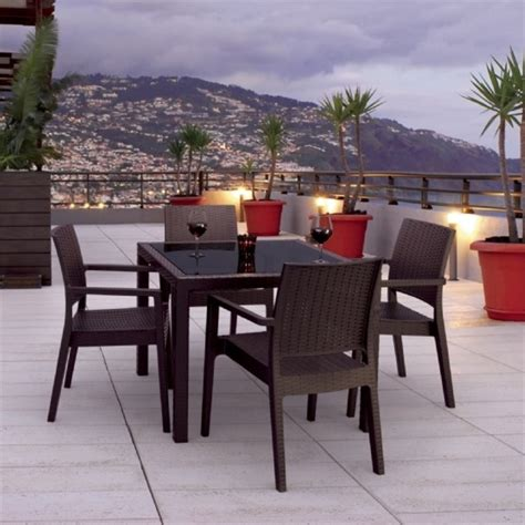 compamia miami 5 square wickerlook patio dining set