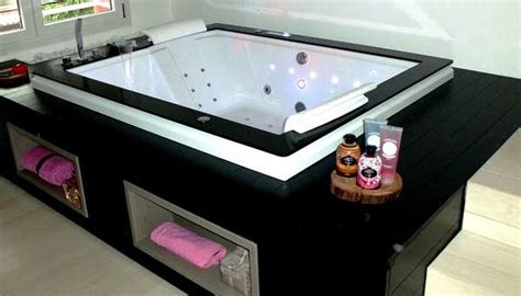 vasca nera vasca idromassaggio 185x150cm da incasso per 2 persone vi