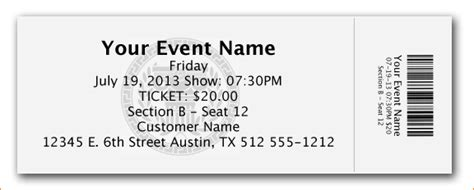 Free Place Card Sport Ticket Template by Ticket Image Template Oklmindsproutco Templates For