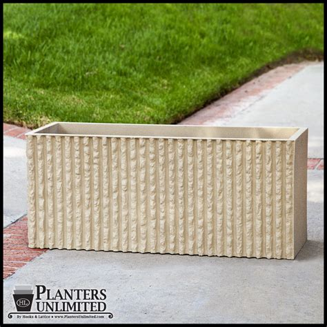 Rectangular Cement Planters by Corrugated Commercial Concrete Planter Rectangle