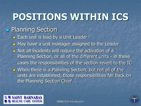 ics planning section chief ppt national incident management system incident command