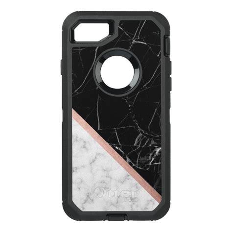 black  white marble texture otterbox defender iphone  case case