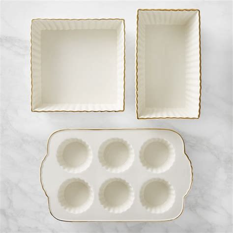 williams sonoma blue and white 3 piece ceramic canister williams sonoma gold rimmed ceramic 3 piece bakeware set