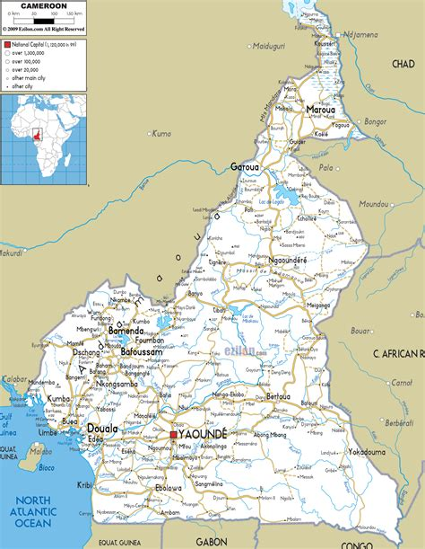yaounde africa map detailed clear large road map of cameroon ezilon maps