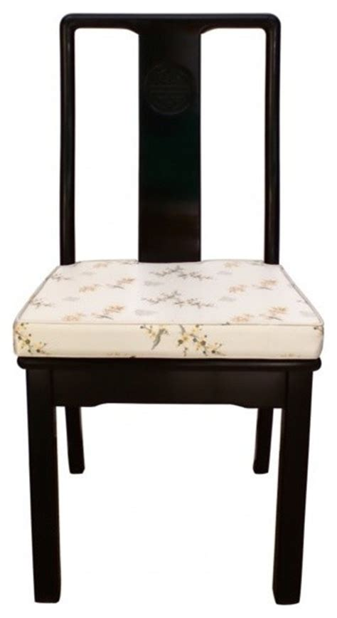 solid rosewood oriental side chair  cushion ming