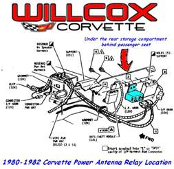 1980 1982 corvette power antenna relay location willcox corvette inc