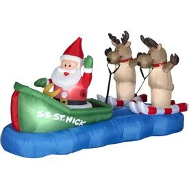 blow up santa in a boat holiday living 3 8 ft inflatable fabric waterskiing