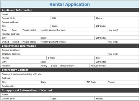 free printable rental application template tags
