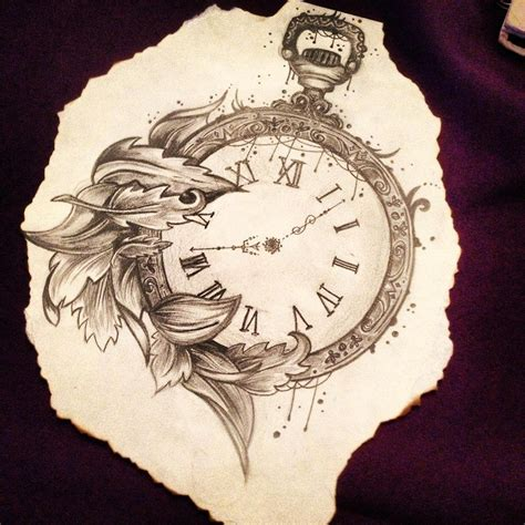 broken pocket watch tattoo pocket pencil drawing caitlin x things to
