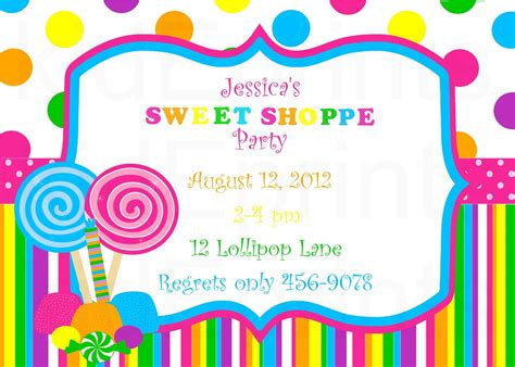 lollipop invitation template printable sweet shoppe invite or candyland invites by