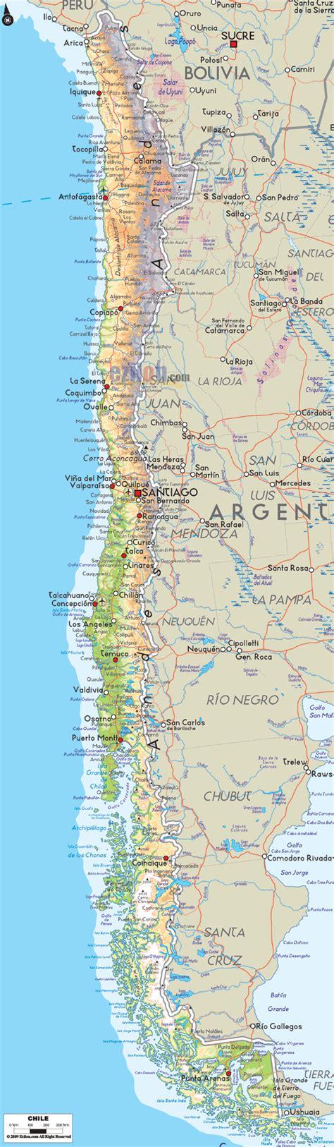 physical map of chile ezilon maps