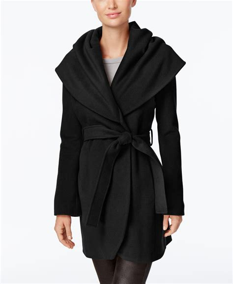 Wool Blend Wrap Coat t tahari marla wool blend wrap coat in black lyst