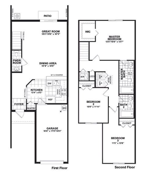 townhouse blueprints martins crossing bloxham floor plan townhouse design