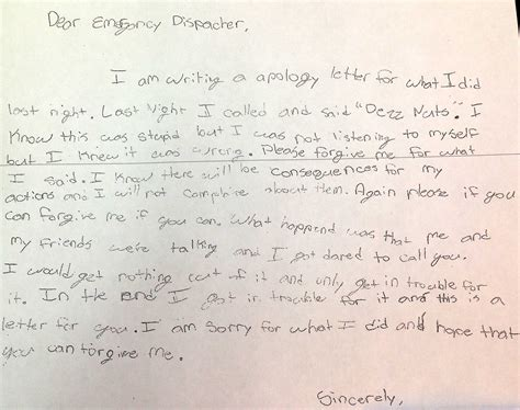 Apology Letter To From Parents Us Child Writes Apology Letter To Operaters After Ringing Emergency Number About Deez Nuts