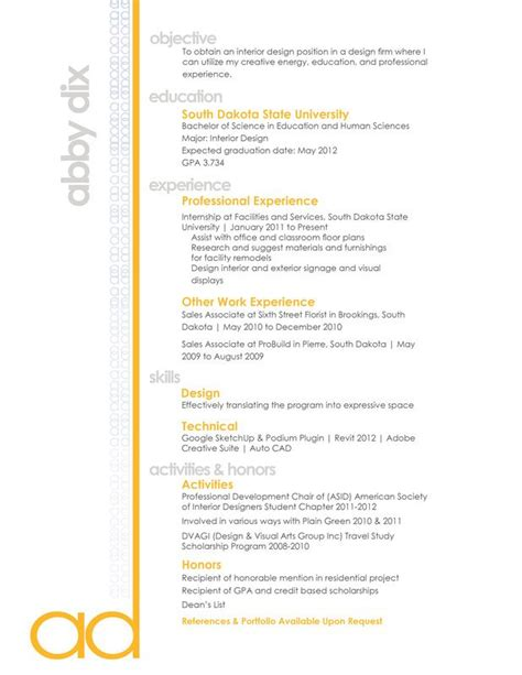 resume sles for interior designers 25 best ideas about interior design resume on
