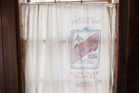 Grain Sack Curtains Flour Sack Curtain Sewing Pinterest Sacks Flour Sacks And Curtains
