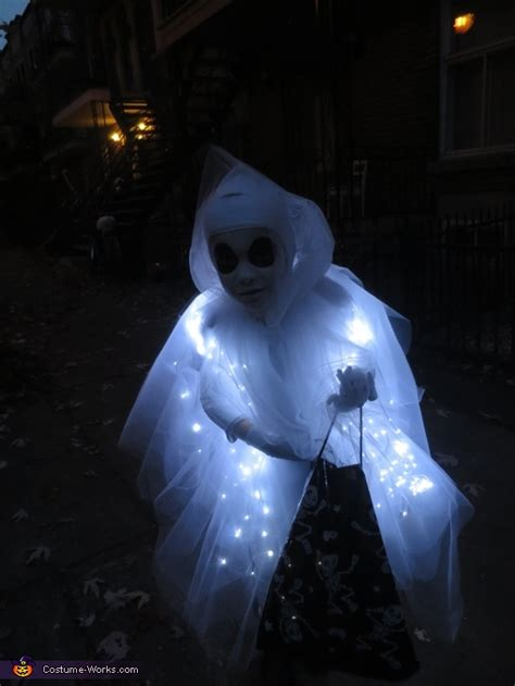 diy led lights ghost costume photo