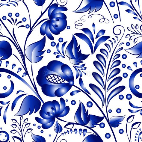 russian pattern vector seamless russian gzhel patterns on a white background