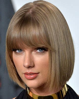 layered chin length blunt cut with bangs taylor swift with short chin length bob and full blunt