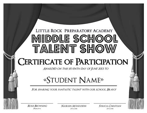 talent show certificate template rock preparatory academy work by alderson at