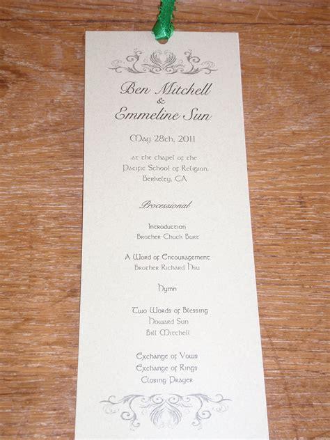 bookmark wedding programs wedding ideas books