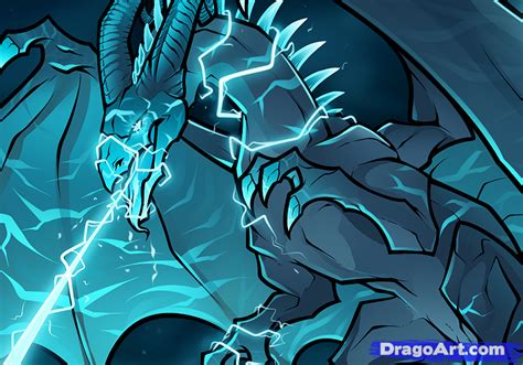 how to draw an electric step by step dragons