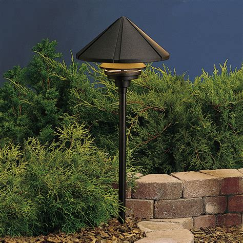 120v landscape lighting kichler 15211bkt six groove 120v large one tier path spread light