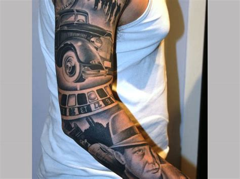 vintage sleeve tattoo designs 25 rad gangster ideas