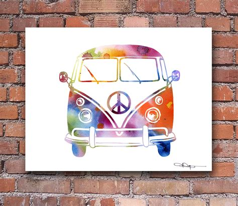 volkswagen bus painting vw bus art print abstract volkswagen watercolor painting